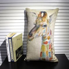 Giraffe linen pillow cover from Sweety Fairy Studio on etsy   Gallop Lifestyle - Animal Inspired Prints & Decor Ideas. #kidsroom #nursery #giraffe #animal
