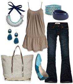 """tan & teal"" by htotheb on Polyvore"