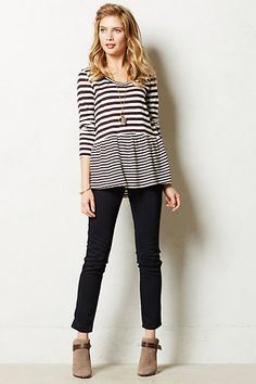 Striped Peplum Tee #anthropologie Another cute idea for clothing alteration