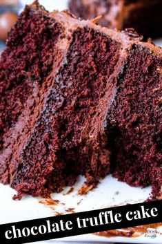 Chocolate Truffle Cake Layered chocolate cake recipe that is moist, rich and dessert perfection! Chocolate Truffle Cake, Amazing Chocolate Cake Recipe, Chocolate Truffles, Chocolate Desserts, Chocolate Frosting, Cake Recipes, Dessert Recipes, Drink Recipes, Cocktail Recipes