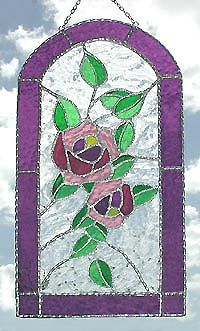 Mauve Roses Suncatcher in Stained Glass - Decorative Handcrafted Sun Catcher - 7 x Stained Glass Flowers, Stained Glass Designs, Stained Glass Projects, Stained Glass Patterns, Stained Glass Art, Sun Catchers, Irish Design, Stained Glass Suncatchers, Teal Background