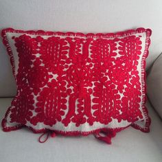 Vintage embroidered cushion cover This style of embroidery originates from the Kalotaszeg region of Transylvania Embroidered on home made vintage