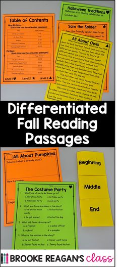 Differentiated fall reading passages and questions. Mutliple level of reading passages with fall theme topics with questions following each reading passage. Reading Comprehension Passages, Table Of Contents, Differentiation, Autumn Theme, Special Education, This Or That Questions, Fall, Autumn, Content Page