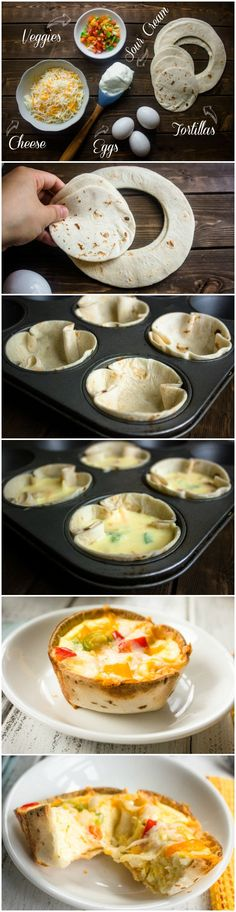 Mini Egg and Cheese Tortilla Cups, perfect for a fun breakfast for easy dinner!