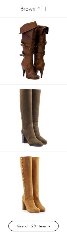 """""""Brown #11"""" by booknerd1326 ❤ liked on Polyvore featuring shoes, boots, heels, botas, footwear, brown, high heel platform boots, platform boots, heeled boots and brown platform boots"""