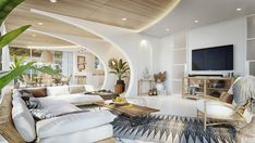 Luxury villa in Thailand, based on an ancient architectural principles. An airy interior with gorgeous architectural features, natural materials & nature views. Living Area, Living Room, Villa Design, Staircase Design, Decoration, Interior Design, Furniture, Home Decor, Behance