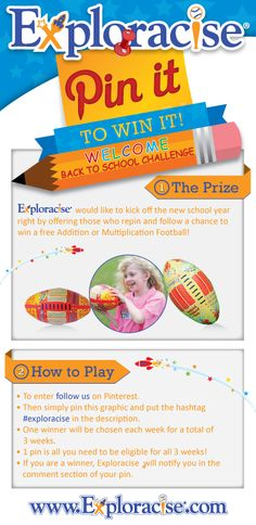 Keeping with the back to school spirit, we would like to offer our fans 3 chances to win a choice of an #Exporacise Addition or Multiplication Football! Enter by hashtag #exploracise! #kids #tampa #back2school