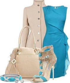 Aquamarine dress and khaki full-length mandarin style coat