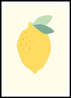 Mooie poster met een citroen die heel mooi past in de keuken. www.desenio.nl
