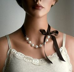 Pearl And Ribbon Necklace With Swarovski Crystal White Pearls And Chocolate Satin Ribbon 18 Inches. $28.00, via Etsy.