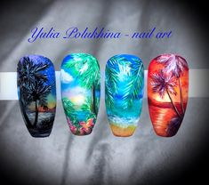 #топмастеров Nail Tip Designs, Cute Nail Art Designs, Summer Acrylic Nails, Summer Nails, Plage Nail Art, Tropical Nail Art, Bunny Nails, Vacation Nails, Finger Nail Art
