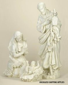 From the Joseph's Studio Nativity Collection Item Set depicts the Holy Family - Mary and Joseph lovingly gazing upon their newborn son Jesus, White Nativity Set, Christmas Nativity Set, Nativity Sets, Family Set, Holy Family, Christmas Stickers, Christmas Cards, Christmas Eve, Outdoor Nativity