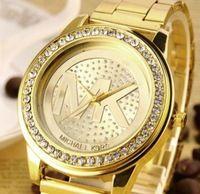 2014 marca de lujo relojes relojes de las mujeres y los hombres Los relojes Rhinestone mujeres del reloj de cuarzo reloj de acero completo