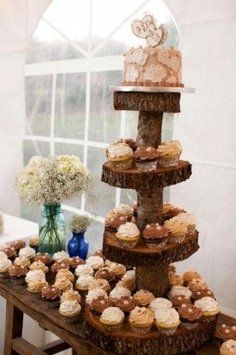 This is a 4 tier cupcake and cake tower. It does have 2 cracks in it but actually looks like they are supposed to be there. This was such a hit at our wedding, everyone loved it!