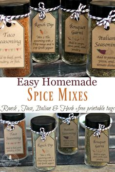 Homemade Spice Mixes and Herb Blends + Free Printable Tags Homemade seasonings make the perfect gifts for housewarming, a hostess gift, or a handmade special Homemade Onion Soup Mix, Homemade Spice Blends, Homemade Spices, Homemade Seasonings, Spice Mixes, Fajita Seasoning Mix, Homemade Fajita Seasoning, Do It Yourself Inspiration, Eat Smarter