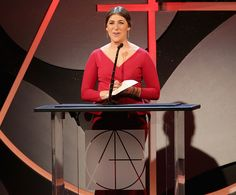 Presenter Mayim Bialik speaks onstage during the 19th Annual Art Directors Guild Excellence In Production Design Awards at The Beverly Hilton Hotel...