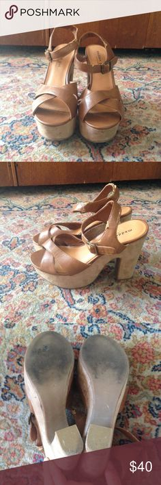 Rad cream chunk heels Very cute chunky heels. A little worn on strap as pictured. Suede heel is in great condition still. These look awesome on! Madden Girl Shoes Heels