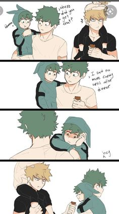 Cute comics · hahaha baku have deku's son the chocolate bar my hero academia boku no academia My Hero Academia Episodes, My Hero Academia Shouto, Hero Academia Characters, Anime Characters, Boku No Academia, Cute Gay, Funny Cute, Deidara Wallpaper, Anime Bebe