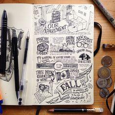 Sketchblog I've been picking away at for Autumn. #moleskine #lettering #art #illustration #tw #halifax #novascotia #eastcoast #maritimes #sea #ocean #sketchbook #sketch #art #drawing #pen #ink #penandink #writing #journal #diary #workspace #design #artist #beejaedee #eastcoastart