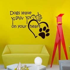 Wall Decals Quotes About Dog Dogs Leave Paw Prints on Your Heart Grooming Salon Pet Shop Decal Vinyl Sticker Home Decor