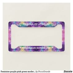 Feminine purple pink green modern multicolor artsy license plate frame Personalized Plates, Bff Gifts, License Plate Frames, Purple Aesthetic, Gifts For Family, Travel Accessories, Christmas Home, Lovers Art, Pink And Green