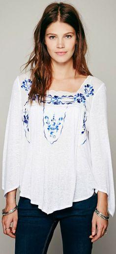 Blue floral detail white blouse fashion