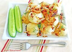 Young Potatoes with Caramelized Onion, Bacon and Dill