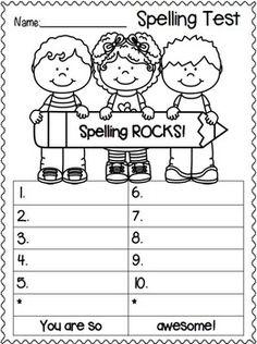 Spelling Test FREEBIES! Back to School Edition Spelling Test Template, Spelling Worksheets, Spelling Lists, Spelling Activities, Spelling Bee, School Worksheets, Spelling Words, Spelling Ideas, 1st Grade Spelling
