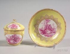Dresden Porcelain Covered Cup and Saucer, late 19th century