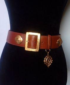 3b9ff4d296e7 Vintage Yves Saint Laurent Leather Buckle Belt   Leather and Gold Metal  Large Buckle Belt   YSL Fawn-Brown Belt   Late 80s  Size 75.  CeinturesCeinture ...