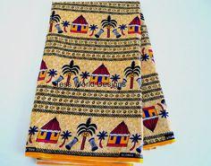 African Fabric Trbal Print  Per Yard. No. by TessWorldDesigns,