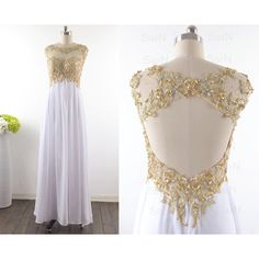 White Long Prom Dresses, Custom White Lace Straps and Chiffon Long Formal Gown, Lace Straps Long Prom Gown found on Polyvore featuring polyvore, women's fashion, clothing, dresses, gowns, vestidos, long white evening dress, formal evening gowns, white prom dresses and formal gowns