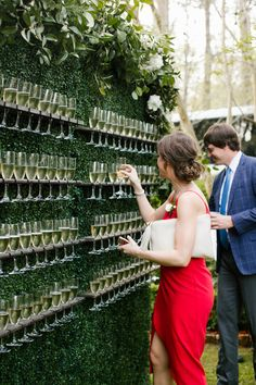 Champagne wall Living wall Boxwood wall Signature drink display Interactive cocktail hour Garden wedding inspiration North House Home and Garden New Orleans wedding NOLA. Perfect Wedding, Our Wedding, Dream Wedding, Spring Wedding, Rustic Wedding, Low Key Wedding, Camo Wedding, Whimsical Wedding, Outside Wedding