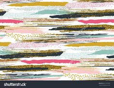 Vector Seamless Pattern With Hand Drawn Gold Glitter Textured Brush Strokes And Stripes Hand Painted. Black, Gold, Pink, Green, Brown Colors. - 421975582 : Shutterstock