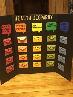 Jeopardy board game, jeopardy questions, jeopardy game for kids, health education, health Health Fair, Health Class, Health Lessons, Health Education, Kids Health, Health Teacher, Elderly Activities, Senior Activities, Assisted Living Activities