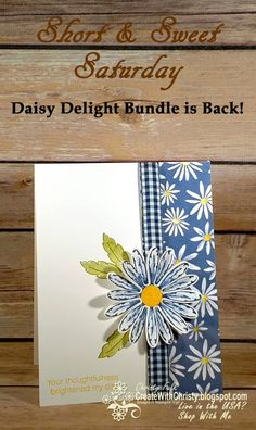 Free, complete instructions included in my blog post: http://createwithchristy.blogspot.com/2017/06/short-sweet-saturday-daisy-delight.html