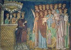Rome - Basilica SS Quattro Coronati, Oratorio San Silvestro - Scena 2 - Costantino come lebbroso, assicura le madri che chiedono pietà di loro figli    da petrus.agricola