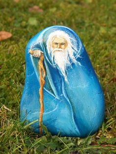 Awesome wizard painted on stone.