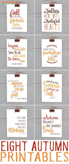 Eight Fall Printable Quotes | Download and print this big bundle of eight autumn printables. 8x10 sizes, ready to print and frame.