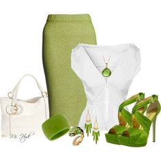 White and green outfit for spring or summer Business Outfits, Business Fashion, Work Fashion, Fashion Outfits, Womens Fashion, Church Fashion, Woman Outfits, Petite Fashion, Ladies Fashion