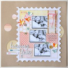 JanaEubank_MMEStudioCalico_HavingFun1.  love the stamp background (cricut cut) and the paper pieced together like a quilt