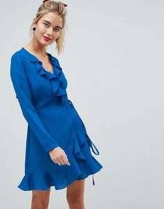 ASOS Ruffle Wrap Mini Dress. Score a wardrobe win no matter the dress code  with c935044cd072