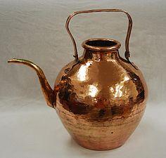 spherical copper teapot