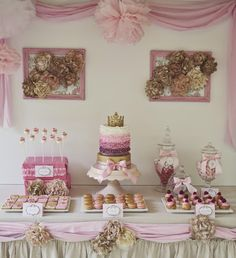 wedding tables decorated with purple ang gold | Lilli's Shabby Chic Princess 8th Birthday Party CLICK HERE for more ...
