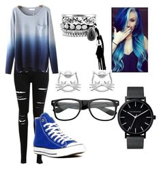 """""""Nice and blue ❤"""" by i-liebe-anime ❤ liked on Polyvore featuring Miss Selfridge, Converse and The Horse"""