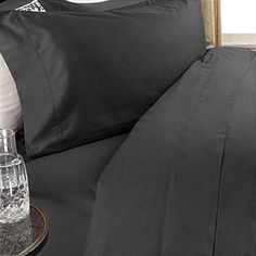 1000-Thread-Count Egyptian Cotton 1000TC Sheet Set, Full, Black Solid 1000 TC