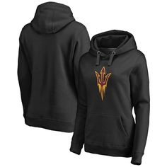 Arizona State Sun Devils Fanatics Branded Women's Plus Sizes Primary Team Logo Pullover Hoodie - Black
