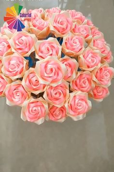 Here's idea to be creative. It's absolutely a prefect gift for your mom! 😊🌹 for mom videos DIY Ribbon Bouquet 💐 Paper Flowers Craft, Flower Crafts, Diy Flowers, Fabric Flowers, Paper Flower Garlands, Tissue Paper Crafts, Paper Flower Backdrop, Paper Roses, Diy Paper