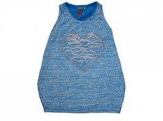 Maat 122/128 Jurk/tuniek Blauw/wit print met hart voor  Merk NoNo