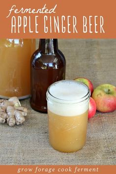 This apple ginger beer is one of the tastiest naturally fermented homebrews Ive ever made Made from a homemade ginger bug and apple cider its the perfect fall drink Its s. Fermentation Recipes, Homebrew Recipes, Beer Recipes, Real Food Recipes, Ginger Bug, Apple Cider, Ginger Drink, Alcoholic Ginger Beer Recipe, Recipes